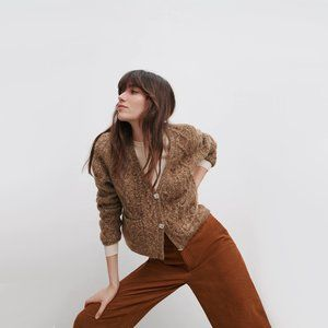 NWT Zara brown jewel button crop knit cardigan